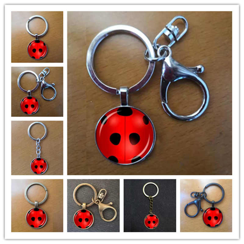 Magical Ladybug Keychain Classic Circle with Point Animal Pendant Keychain for Female Girl Anime Cosplay Lady Bug Jewelry