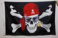 Pirate Flag Cross And Glasses Skull Hot Sell Goods 3X5FT 150X90CM Banner Brass Metal Holes