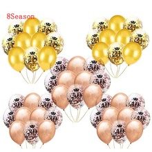 8-Season 10pcs/12inch Happy Birthday Party Decoration Latex Confetti Balloons 18 21 30 40 50 Printed number Balloon Dec