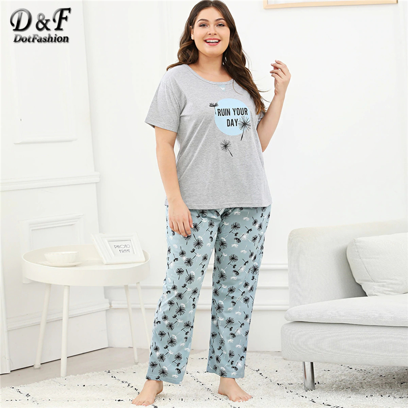 Dotfashion Plus Size Dandelion And Letter Print   Pajama     Set   2019 Summer Casual   Pajamas   For Women Sleepwear Short Sleeve Nightwear