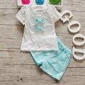 2016 Conjuntos de Roupas de Bebê Menina Moda Verão Crianças Cotton Bow Malha Roupas Das Meninas Do Esporte Ternos Definir Crianças Ocasional Set Outfit