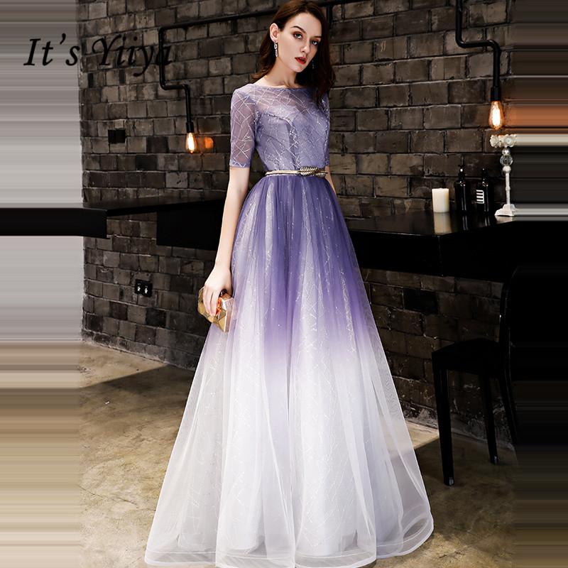 It's YiiYa Evening Dress 2018 Fashion O-neck Shiny Sequined Gradient Purple A-line Lace Up Dinner Gowns LX1288 Robe De Soiree