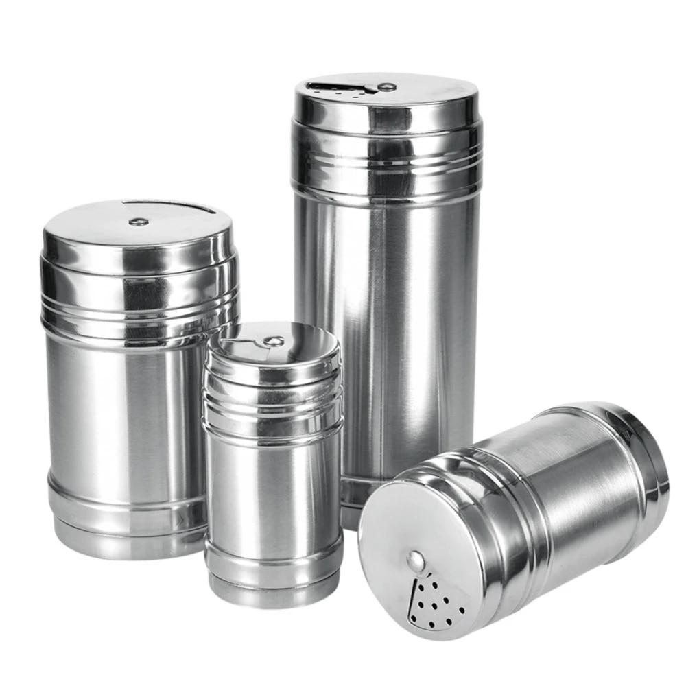 Spice Sugar Salt Pepper Herb Shaker Jar Storage Bottle 4 Sizes Stainless St New