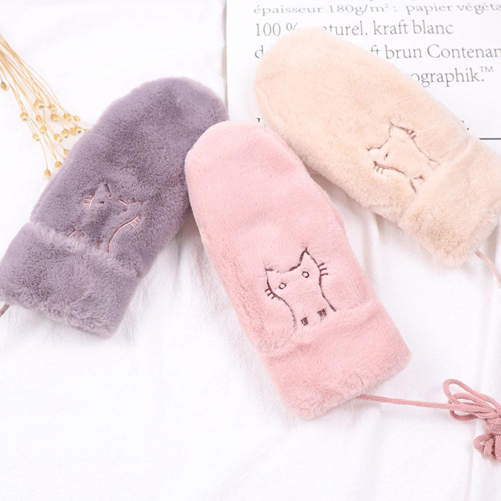 Women's Gloves Zacoo Girl Sweet Gloves Women Winter Warm Hanging Neck Gloves Cartoon Lovely Candy Color Mitten 2018 Winter New San0 Good Reputation Over The World