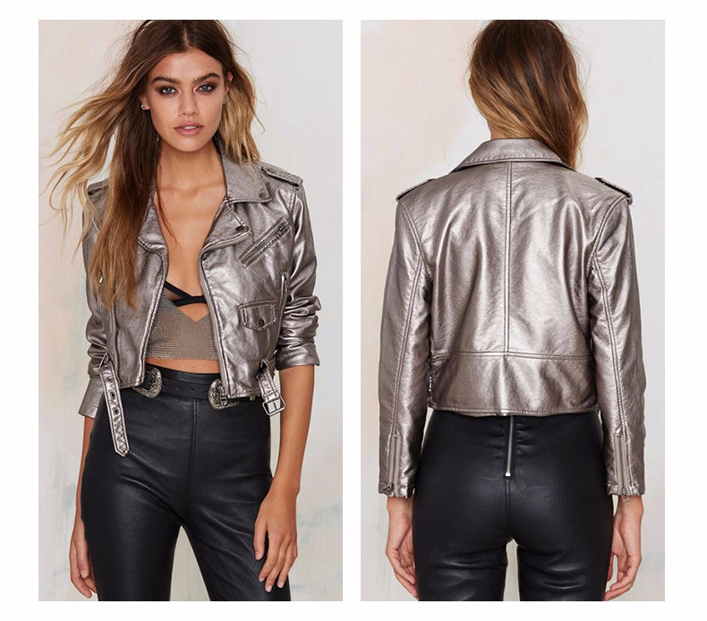 Silver Gray Punk Style Short Jacket 4