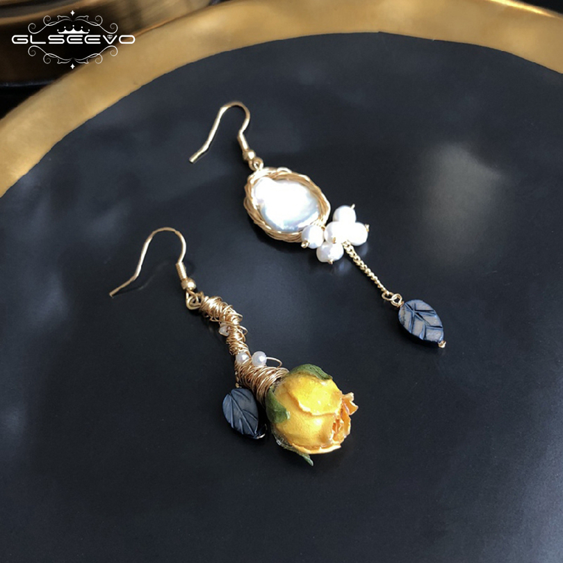 цена на GLSEEVO Natural Fresh Water Pearl Really Flower Handmade Asymmetric Drop Earring For Women Dangle Earrings Luxury Jewelry GE0593