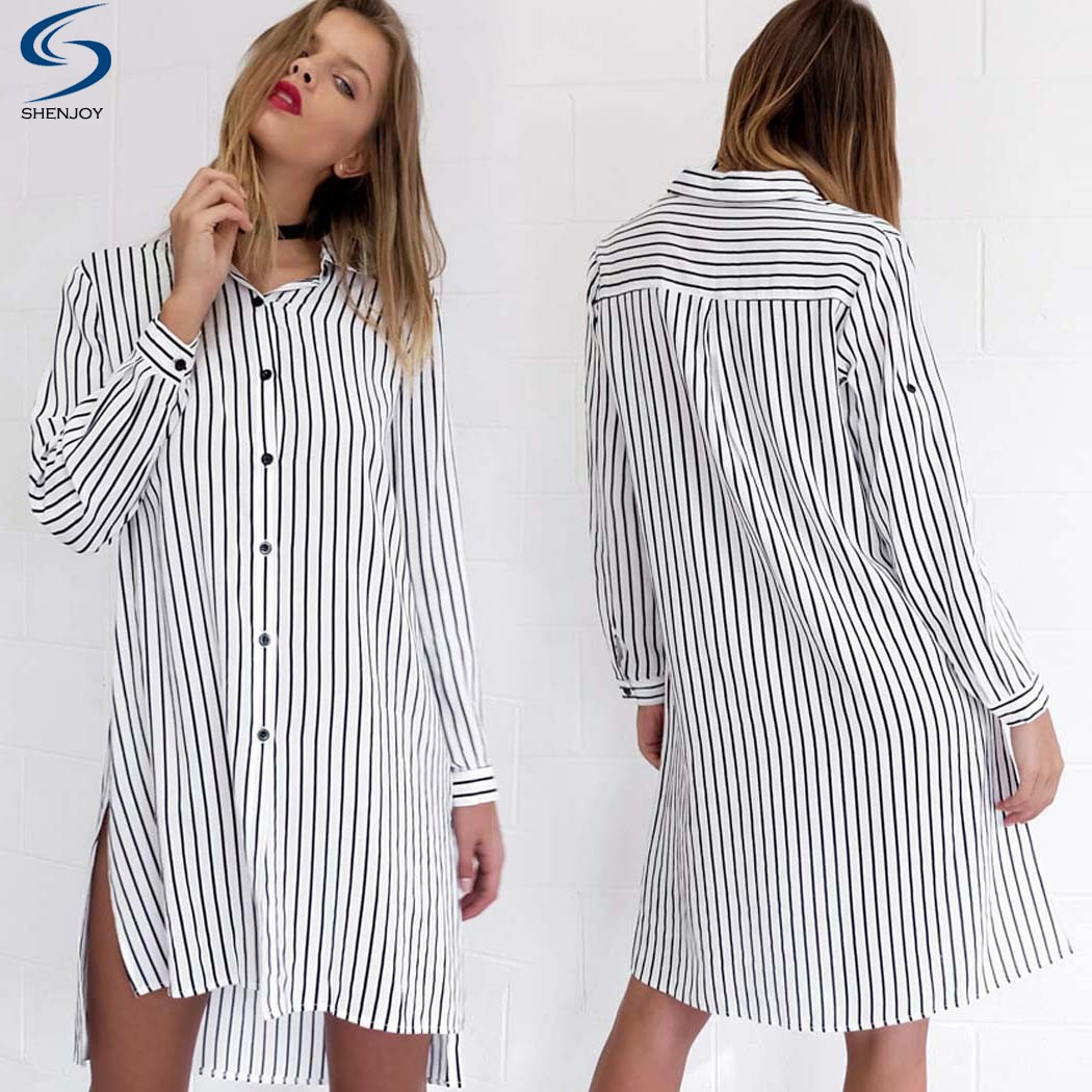 Fashion Women Long Sleeve Striped Button Down Side Slit