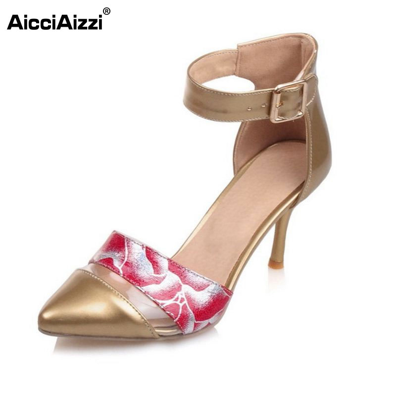 Summer Style Fashion Pointed Toe Women Pumps New Floral High Heels Sexy Ankle Wrap Ladies Wedding Sexy Shoes Size 30-45 PA00786 2017 new spring summer shoes for women high heeled wedding pointed toe fashion women s pumps ladies zapatos mujer high heels 9cm