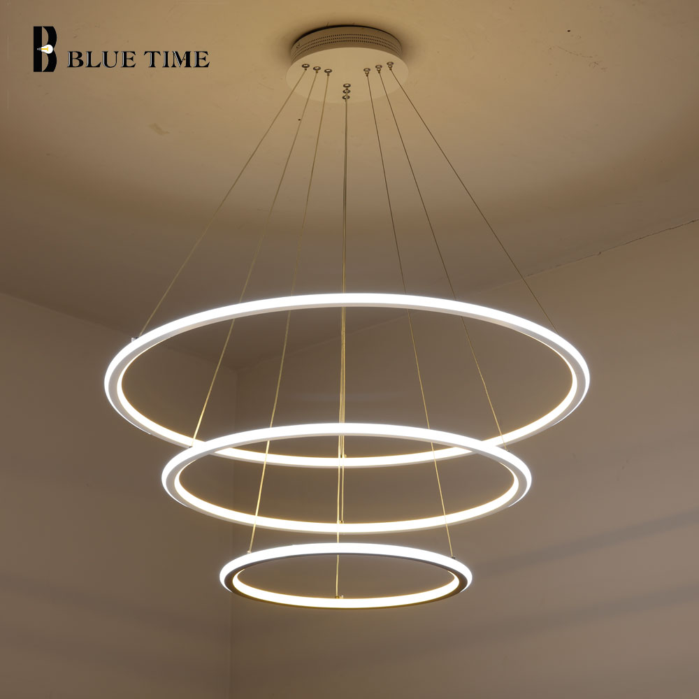 3 circle rings led pendant lights acrylic modern pendant lamp led lustre for living room dining. Black Bedroom Furniture Sets. Home Design Ideas
