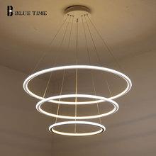 цена 20CM 40CM 60CM 3 Rings Modern LED Pendant Lights For Living Room Dining room LED Lustre Pendant Lamp Indoor lighting luminaire онлайн в 2017 году