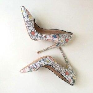Image 4 - Keshangjia Plus  woman shoes 2018 girls sexy high heels printed multi colors stilettos 12 10 8cm wedding shoes