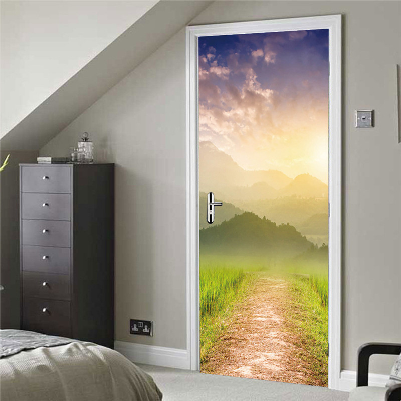 2Pcs/Set 3D Door Wall Stickers Removable Scenery Forest Road Door Sticker 200*77cm DIY Mural Bedroom Home Decor Poster