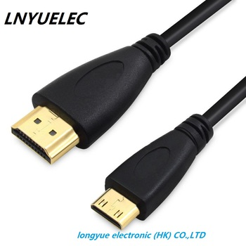 250pcs/lot 30cm  High speed Gold Plated HDMI TO MINI HDMI Plug Male-Male HDMI Cable 1.4 Version 1080p 3D for TABLETS DVD