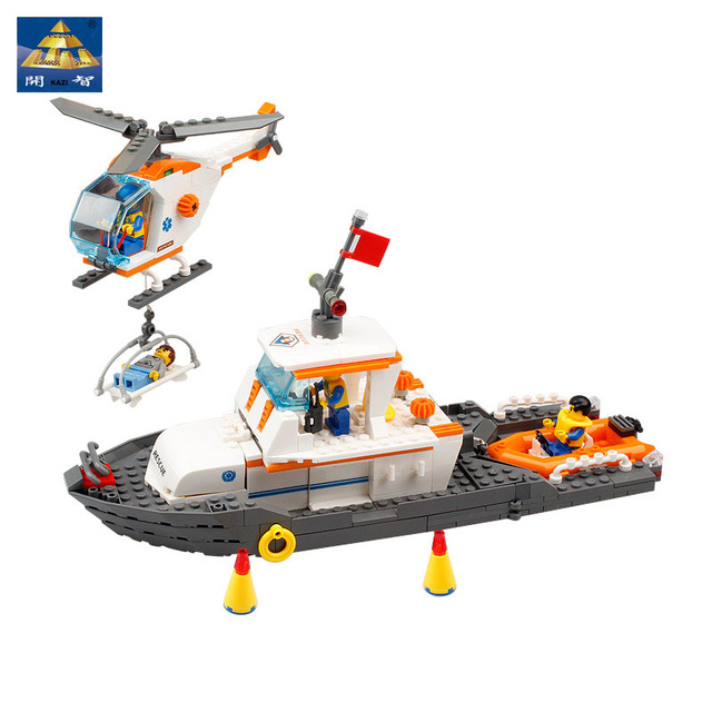 Kazi Maritime Search Rescue Team Building Blocks Montessori Educational Toy Rescue Boat & Helicopter Small Boat Birthday Gift