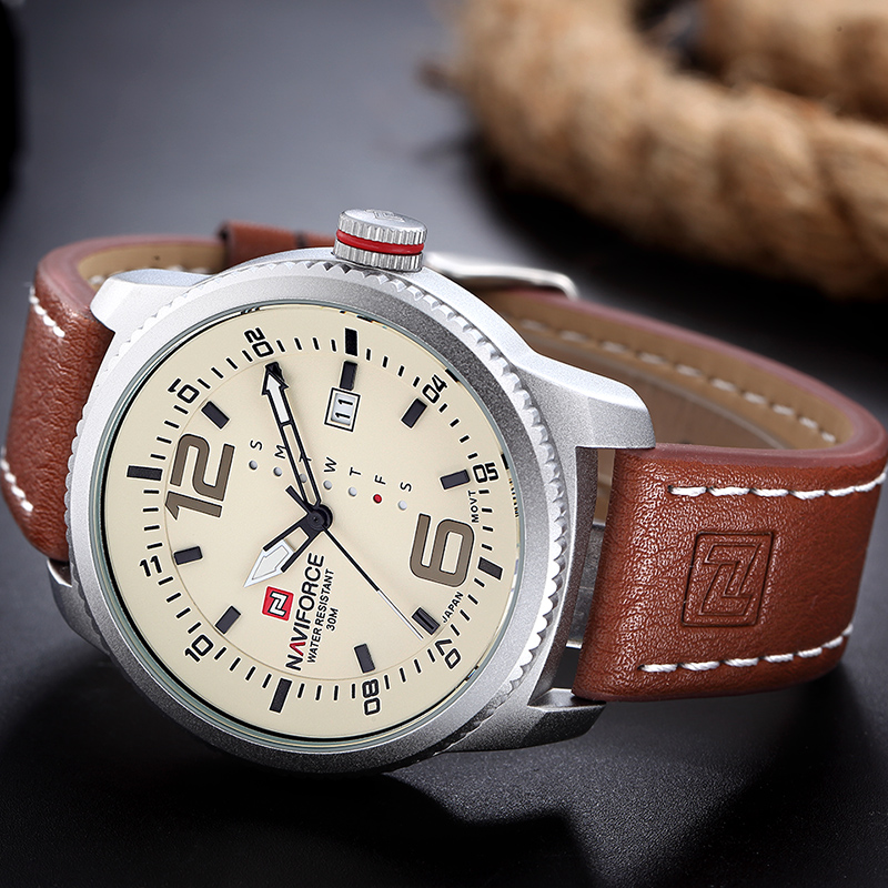 2017 new luxury brand naviforce men sport watches men 39 s quartz clock man army military leather for Celebrity watches male 2017