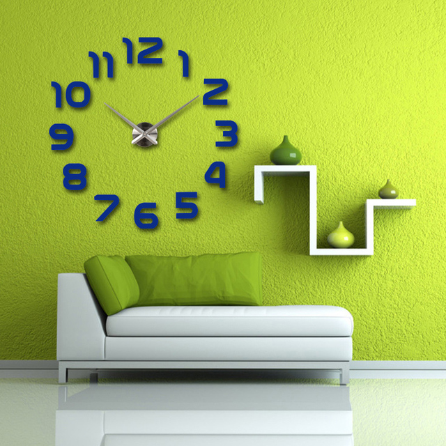 2017 new hot sale wall clock watch clocks Modern Antique Style home decoration 3d diy acrylic mirror stickers Quartz Living