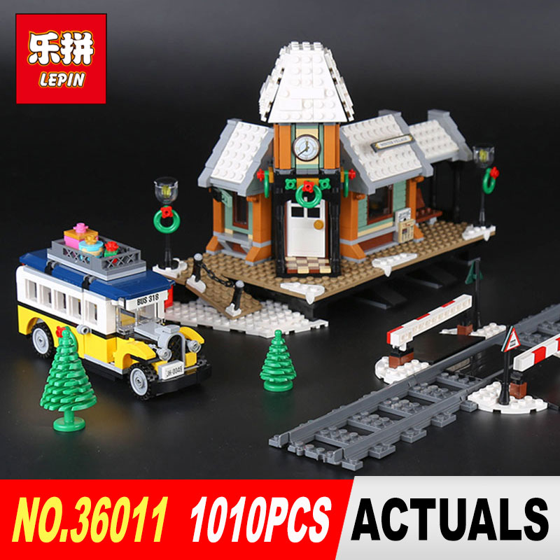 1010Pcs Lepin 36011 Genuine Creative Series The Winter Village Set Building Blocks Bricks Educational Toys 10259 for children lepin 36010 genuine creative series the winter village market set legoing 10235 building blocks bricks educational toys as gift