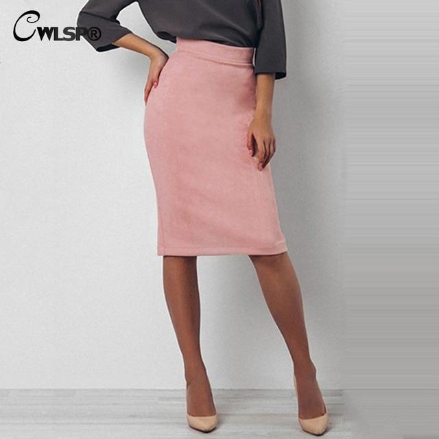 d6cdc2fe935ee CWLSP 2018 Spring Suede Pencil Skirts Women Knee-Length Back Split Skirt  Wear to work