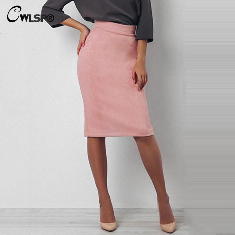 CWLSP 2019 Spring Suede Pencil Skirts Women Knee-Length Back Split Skirt Wear To Work Office Ladies Skirt QL3139
