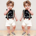 Summer Children Boys Clothing Set Sleeveless Letter Shirt + Straps Shorts Baby Boys Sports Suit 2-6 Years Kids Clothes Set