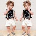 Verão Novo Conjunto de Roupas Infantis Meninos Carta Sem Mangas Camisa + cintas Calções Esportes Dos Meninos Terno Do Bebê 2-6 Anos Roupa Dos Miúdos conjunto