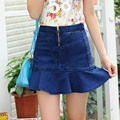 New Style Women Denim Shorts Skirts Casual Ruffles Slim High Waist Shorts Plus Size 3XL Blue DTY03