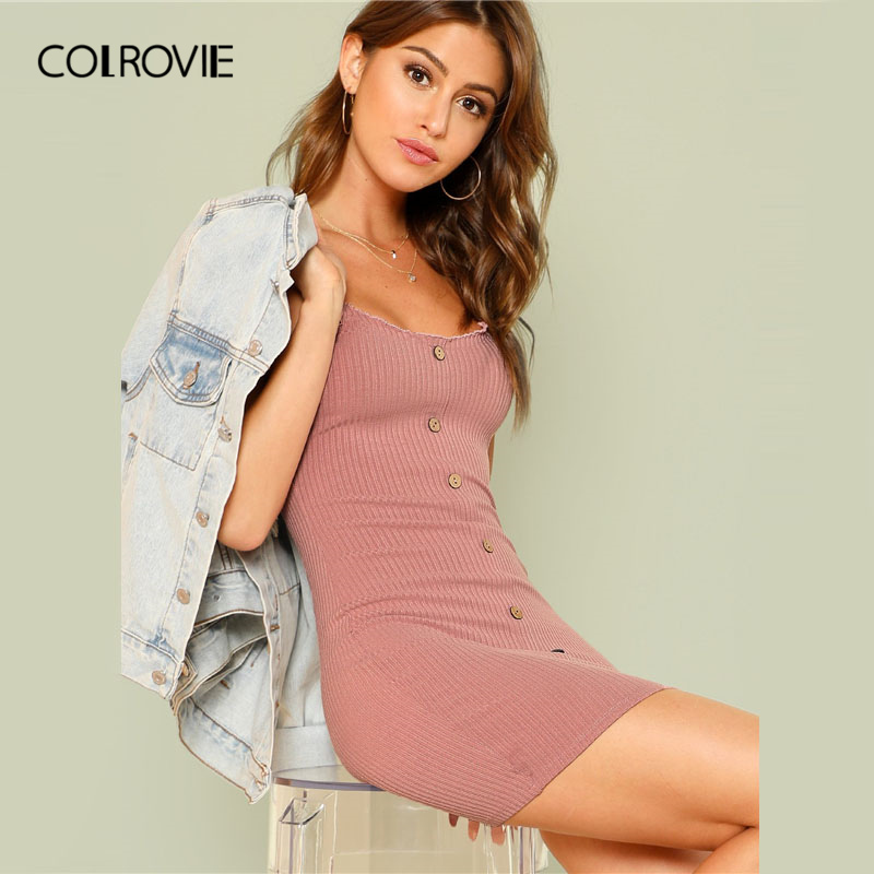 COLROVIE Green Lettuce Edge Trim Button Ribbed Pink Cami Sexy Dress 2018 Summer Blue Bodycon Dress Elegant Mini Women Dress
