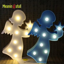 Meaningsfull Plastic Angel Led Night Light 9 Led Marquee Letter Sign Table Lamps For Party Wedding Kids Birthday Gift Home Decor
