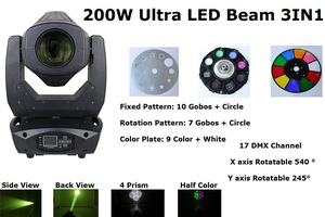 Beam Wash Spot 3IN1 LED Moving Head Lights 200W Professional LED Moving Head Stage Lights Electronic ballast Mechanical Dimming