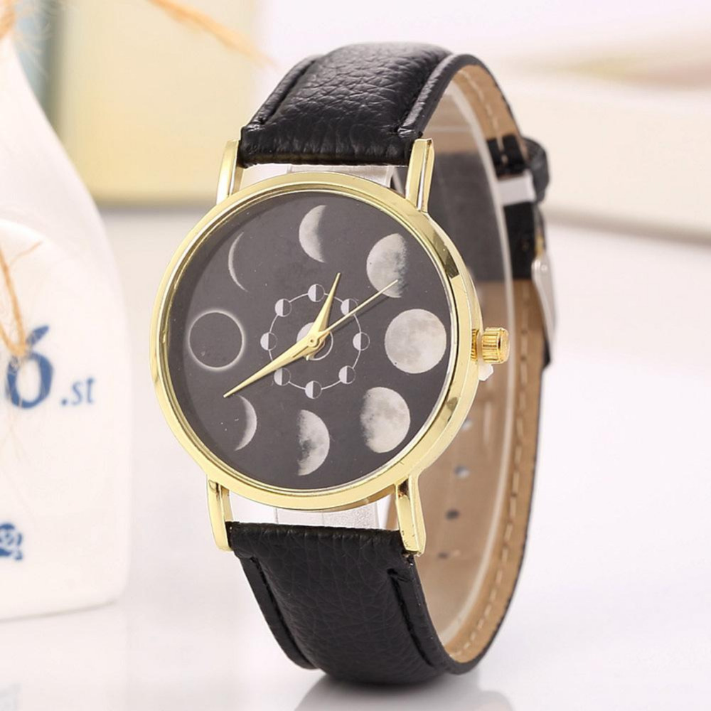 Quartz Wrist Watch Dress Watch Relogio Feminino 2018 Women Fashion Lunar Eclipse Pattern PU Leather Analog Hodinky Clock Woman