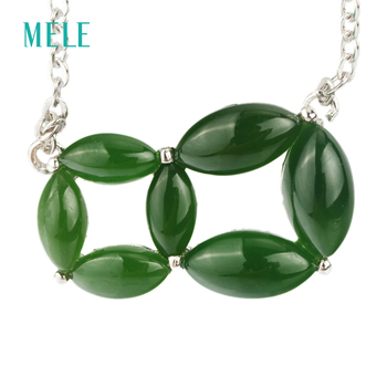 Natural green jasper 925 silver pendant, marquise 4mm*8mm, 12mm*19mm for whole pendant size, best choice for summer skirt