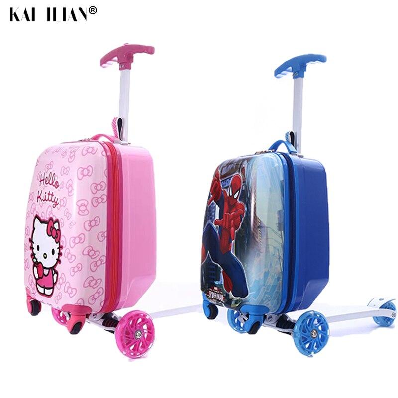Valise de voyage sur roues enfant cadeau scooter valise cabine skateboard chariot paresseux bagage sac pour enfants dessin animé roulant bagages