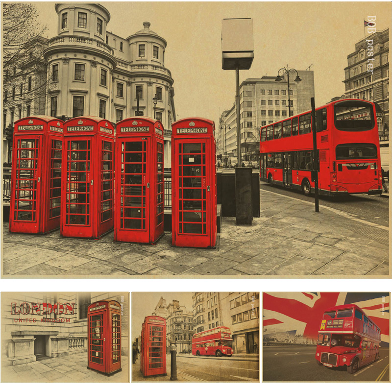 London red buses and telephone booths/Tower of London/retro Kraft wallpaper/ cafe bar decorated Vintage poster rustica mini noce slate 12 in x 12 in x 8 mm porcelain mosaic tile backsplash images