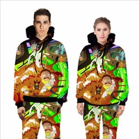 Men S Casual Ricky And Morty 3D Print Hoodies Women S Anime Sweatshirt With Hat Unisex