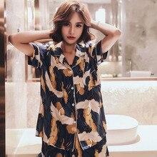 Novedad de verano, ropa de dormir fina de satén, conjunto de pijama de estilo coreano para mujer, Crown Crane estampado, ropa de casa cómoda de algodón, ropa informal para mujer