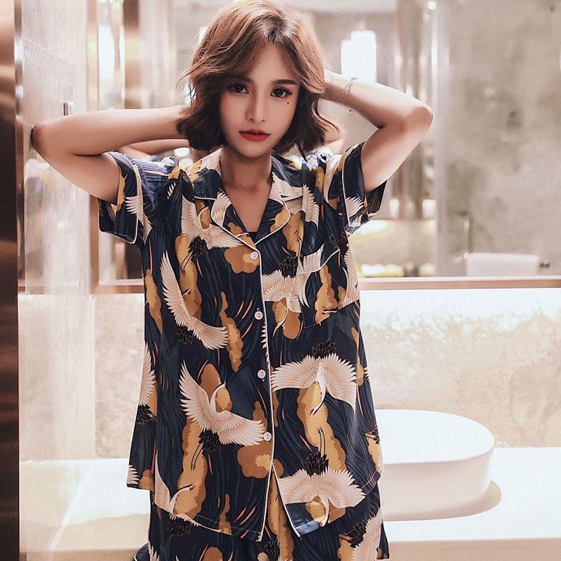 Summer New Thin Satin Sleepwear Korean Style Women   Pajama     Set   Crowned Crane Printed Comfort Cotton Homewear Ladies Casual Wear