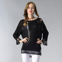2018 Spring Sexy Lace Knitted Sweater Women Solid Color Perspective Hollow Sweaters Female Sweter Pullovers Tops