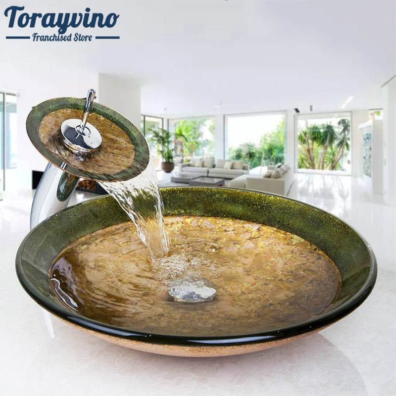 Bathroom Victory Vessel Washbasin Tempered Glass Sink With Chrome Waterfall Faucet Sets Countertop Basin Sinks W/Drian