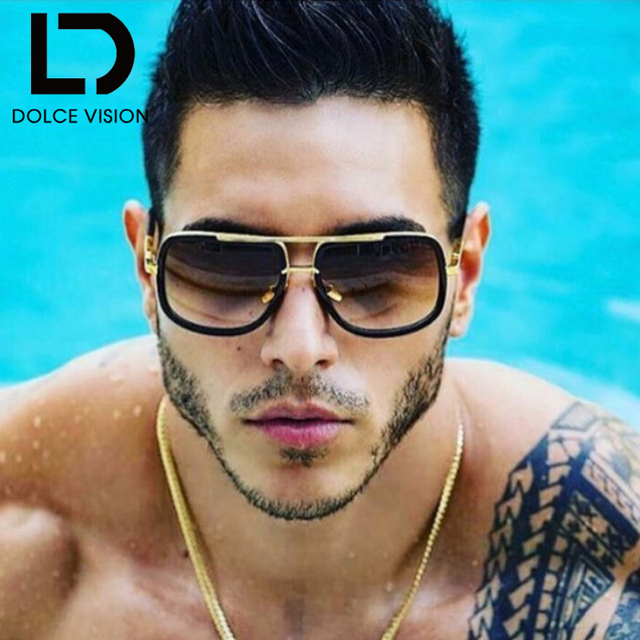 9185bc92742 DOLCE VISION Pilot 2018 Sun Glasses for Men Original Brand Shield Sunglasses  Women Golden Gradient Oversized Shades Retro Oculos