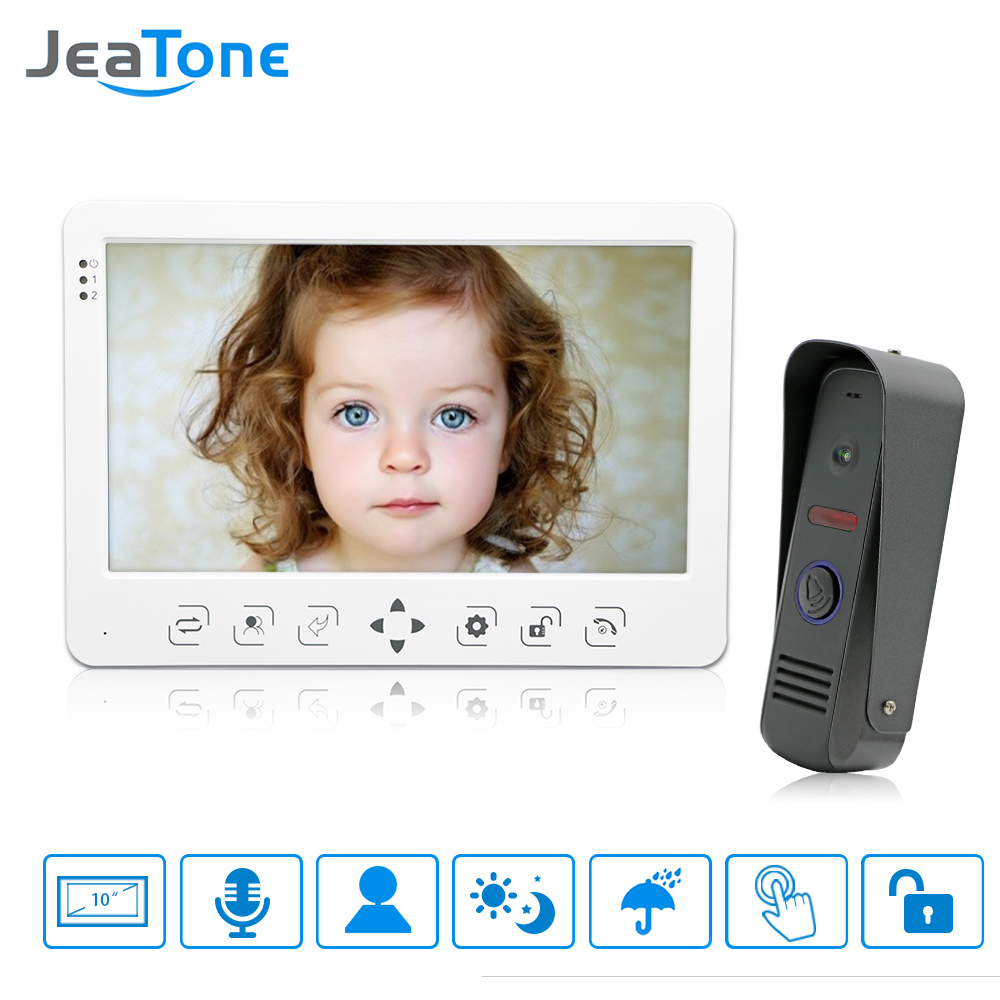 "JeaTone 10 ""Warna Sentuh Key Monitor Video Doorphone Intercom IR Night Vision Kamera Video Bel untuk Apartemen Rumah Kit 1v1"