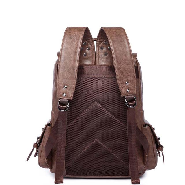 2019 Men PU Leather Backpack High Quality Youth Travel School Book Bag Waterproof Men Laptop Business backpack Shoulder Bag Rack