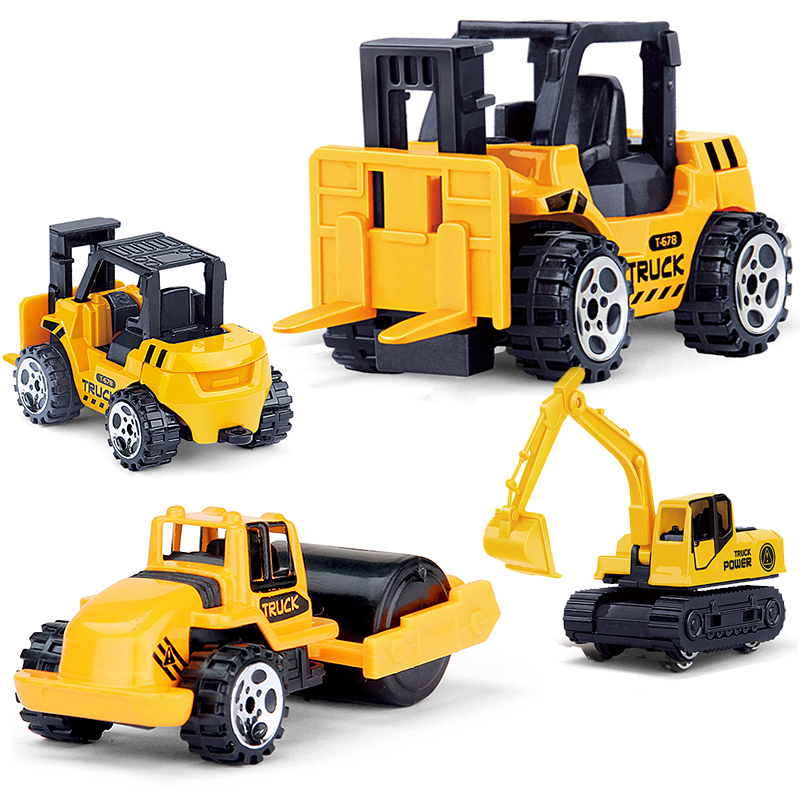 4Pcs/Set Mini Alloy Engineering Car Diecasts Tractor Toy Vehicle Dump Truck Artificial Model Classic Toy Mini Gift For Boy