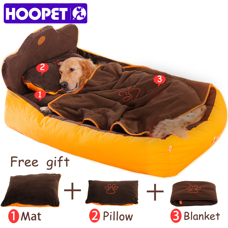 HOOPET Completely Removable Washable 3PCS Pet Cat Dog Bed with Double Sided Cushion Soft Pillow Blanket