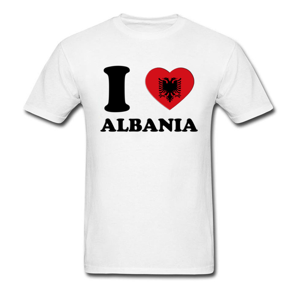 Unique T Shirt Couple Men'S Cotton New White Tshirt I Love Albania 3D Heart Flag T Shirts Short Sleeve Round Collar Outfit