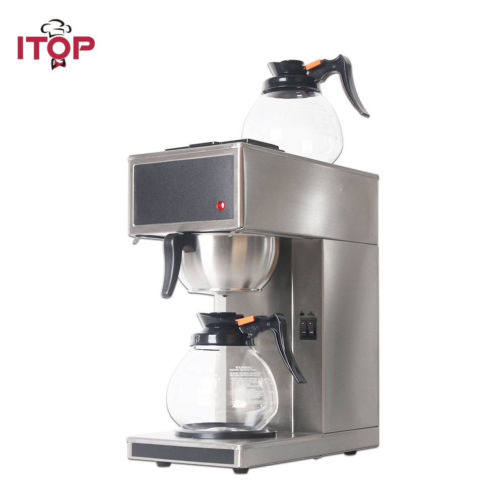 ITOP Automatic Coffee Maker Machine Espresso Household Electric distilling WIth 2pcs 1.8L Decanter