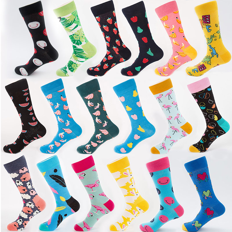 High Quality Mens Combed Cotton Socks Mens Casual Happy Fancy Socks Yellow Rabbit Funny Cool Crew Socks Crazy Sox Teen Smile