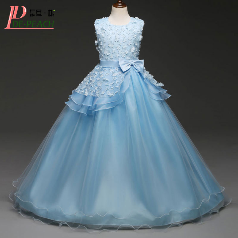 DE PEACH New 2018 Big Girls Wedding Dresses Flowers Princess Long Style Lace Dress Girl Party Costumes Teenager Children Vestido children s wear russia court style mosaic flowers side large hem princess dress