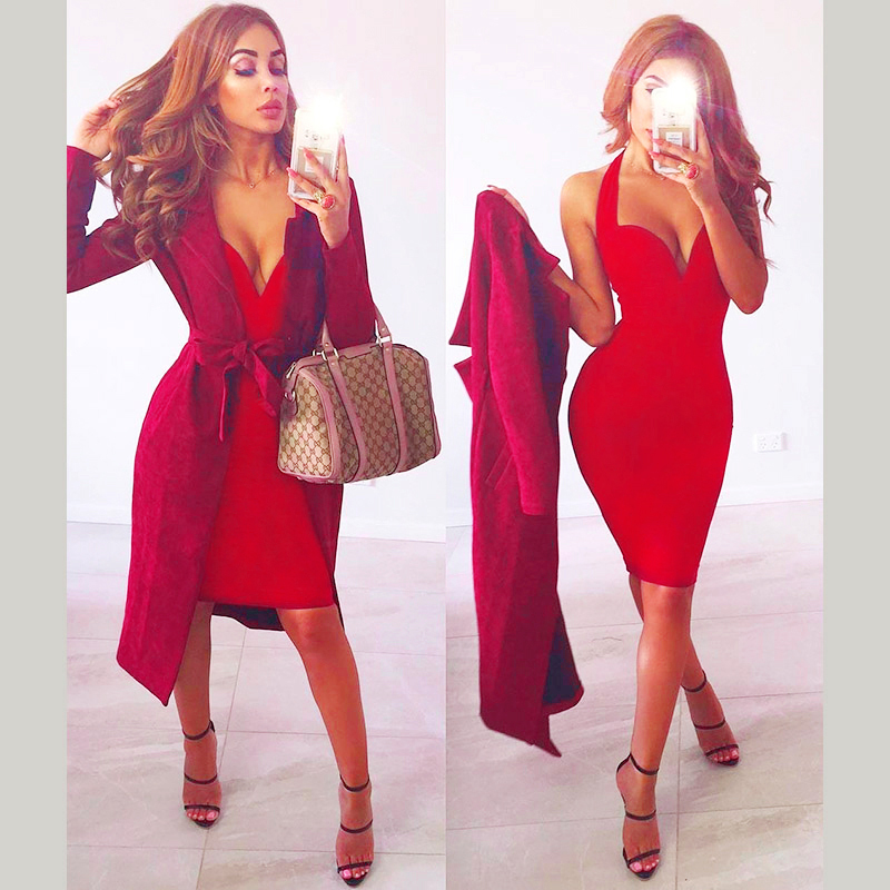 wholesale New dress Red V neck Spaghetti Strap Celebrity Boutique Fashion sexy Cocktail party bandage dress