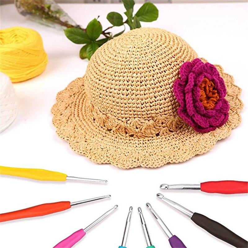 12pcs Crochet Hooks Set Ergonomic Multicolor 2.0-8.0mm Knitting Needles Soft Rubber Handle Crochet Needles For Any Yarn Weave (12)