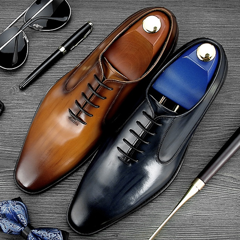 New Luxury Square Toe Man Formal Dress Shoes Genuine Leather Quarter Brogue Footwear Men's Handmade Wedding Party Oxfords NE71 men luxury crocodile style genuine leather shoes casual business office wedding dress point toe handmade brogue footwear oxfords page 2 page 5 page 5 page 3
